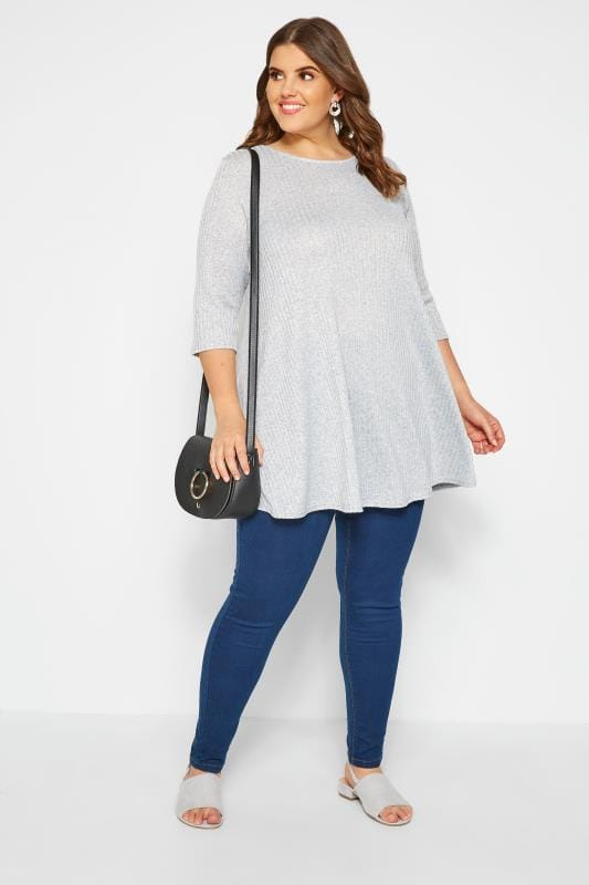 Grey Ribbed Swing Tunic