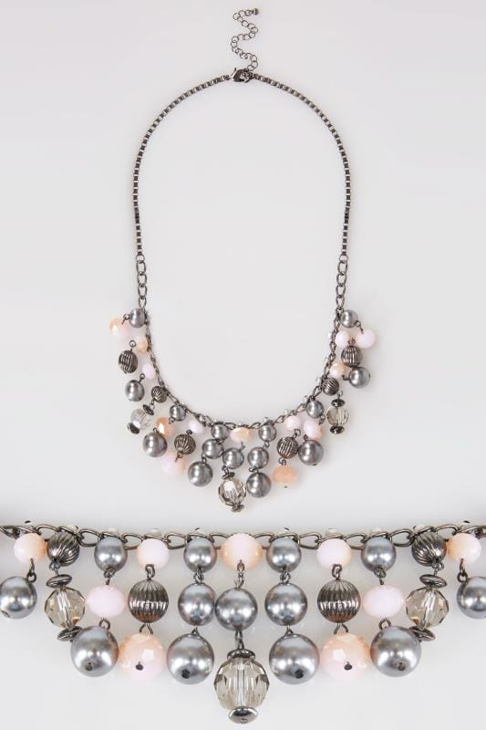 Gunmetal Multi Bead Trim Necklace