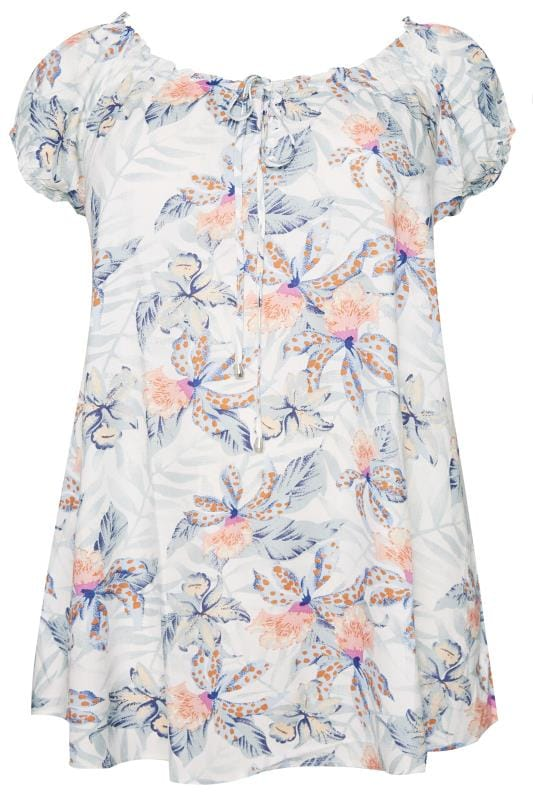 Plus Size Gypsy Tops White & Mint Tropical Gypsy Top