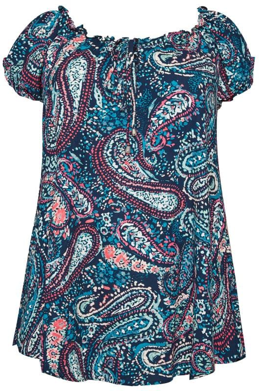 Plus Size Gypsy Tops Blue Paisley Gypsy Top