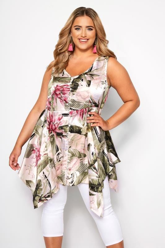 Plus Size Pink & Green Floral Satin Button Blouse