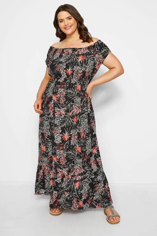 Plus Size Maxi Dresses Black Palm & Animal Bardot Maxi Dress