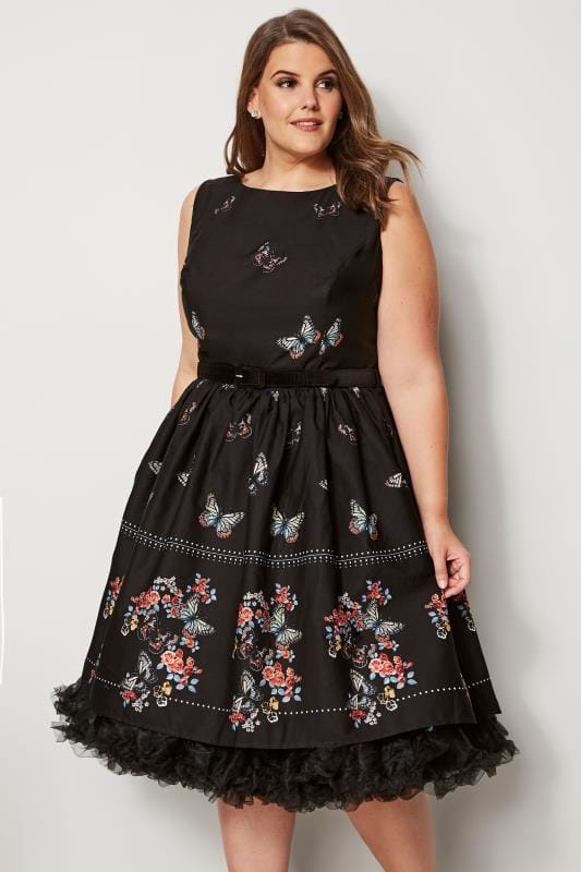 HELL BUNNY Black Butterfly Print Skater Dress With Detachable Belt