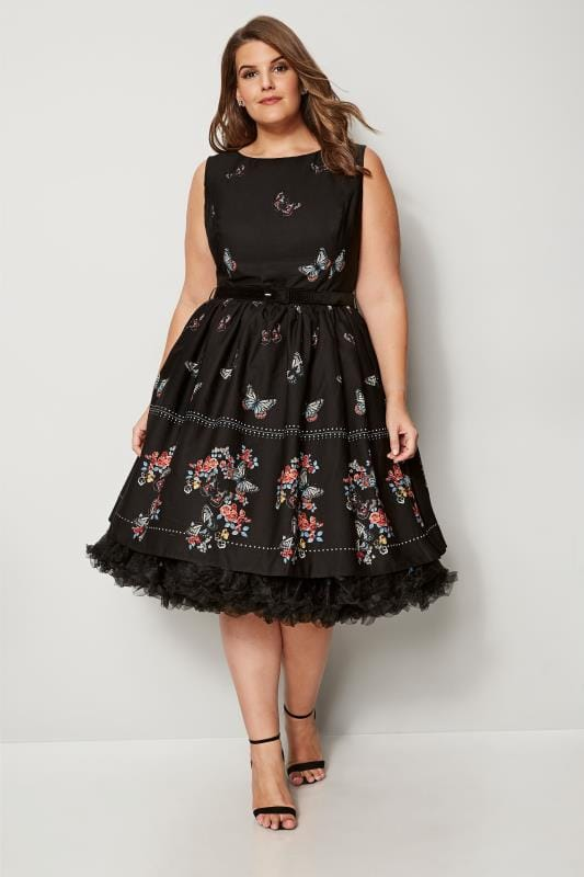 HELL BUNNY Black Butterfly Skater Dress
