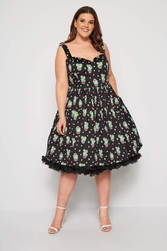 Plus Size Skater Dresses HELL BUNNY Black Cactus Dress