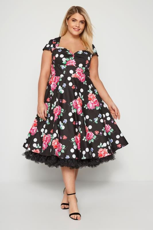 HELL BUNNY Black Floral & Spot Carole Dress