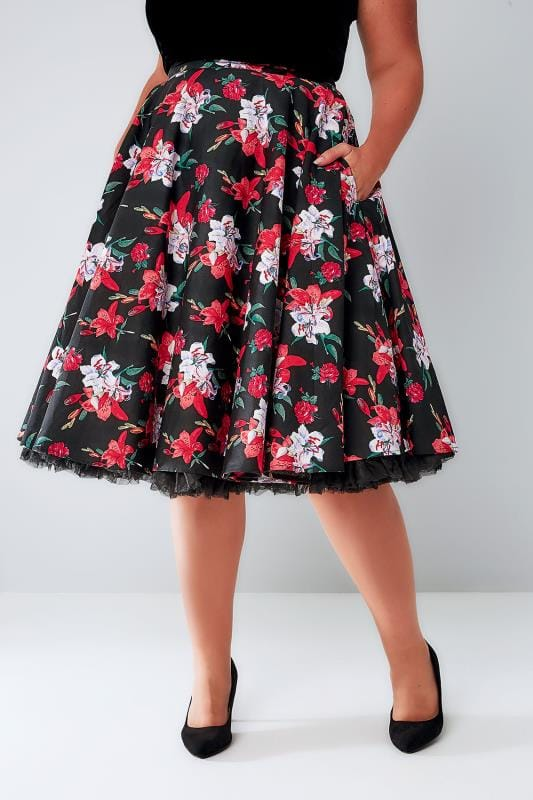 Midi Skirts HELL BUNNY Black & Multi Bright Floral Print Liliana Skirt 138522