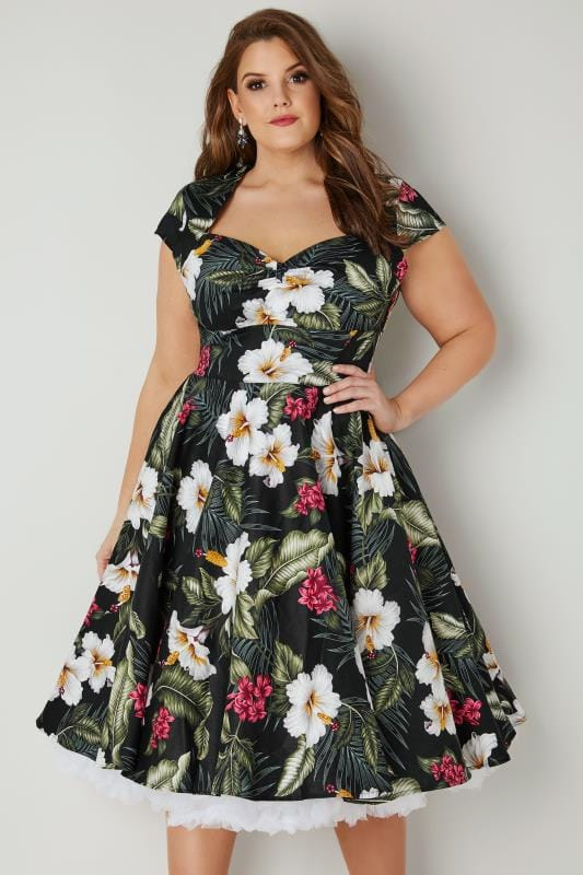 Plus Size Midi Dresses HELL BUNNY Black & Multi Floral Kalei Dress