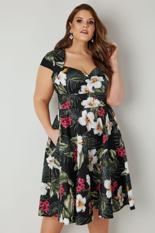 HELL BUNNY Black & Multi Floral Kalei Dress