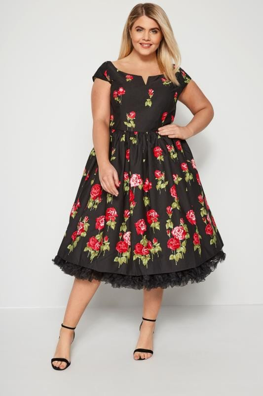Plus Size Black Dresses HELL BUNNY Black & Red Marlena Rose Dress