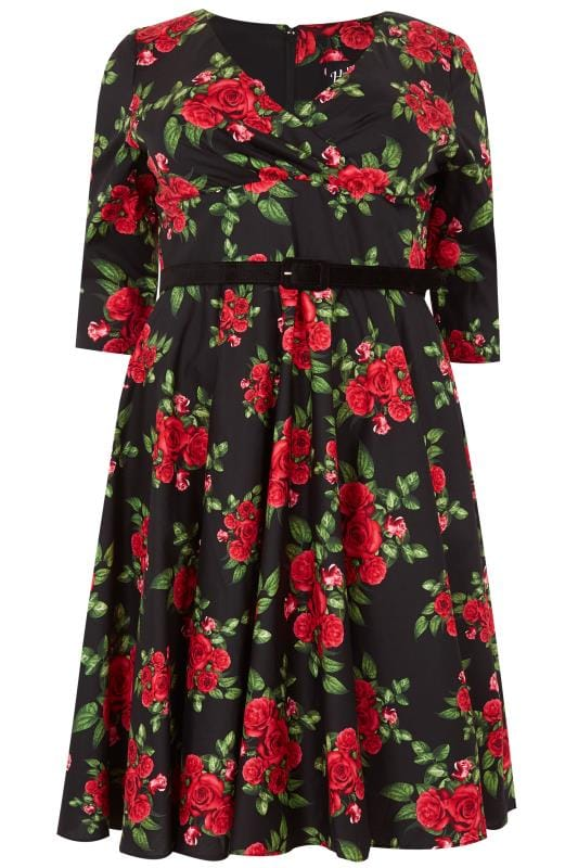 Plus Size Skater Dresses HELL BUNNY Black & Red Rose Print Cheriyln Dress With Waist Belt