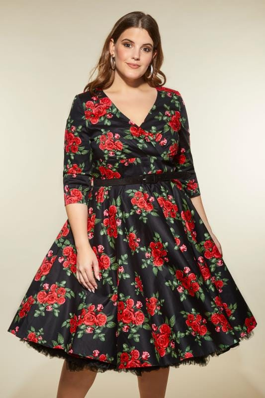 HELL BUNNY Black & Red Rose Cheriyln Dress
