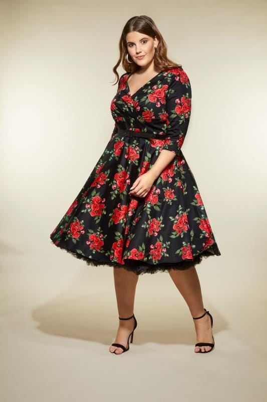 Plus Size Skater Dresses HELL BUNNY Black & Red Rose Cheriyln Dress