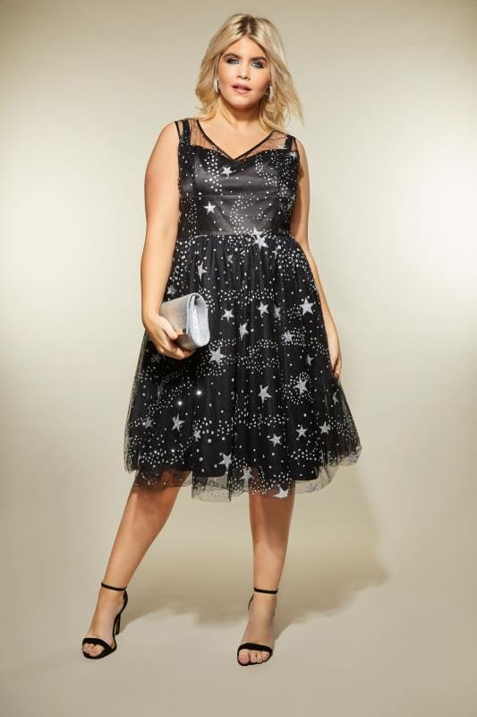 Hell Bunny Black Amp Silver Glittery Mesh Cosmic Dress Plus