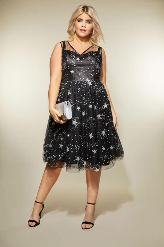 Plus Size Skater Dresses HELL BUNNY Black & Silver Glittery Mesh Cosmic Dress