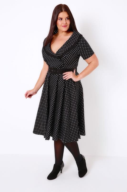 HELL BUNNY Black & White Mono Spotted Dress