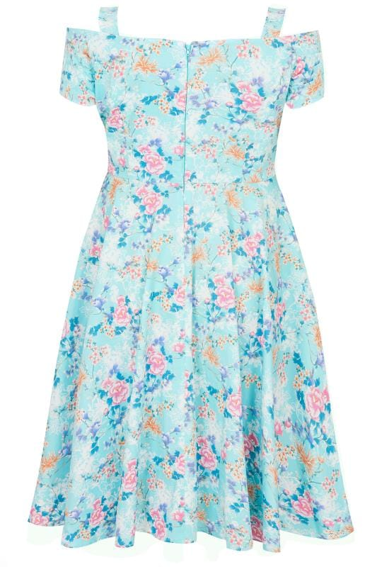 HELL BUNNY Blue Floral Yoko Cold Shoulder Dress