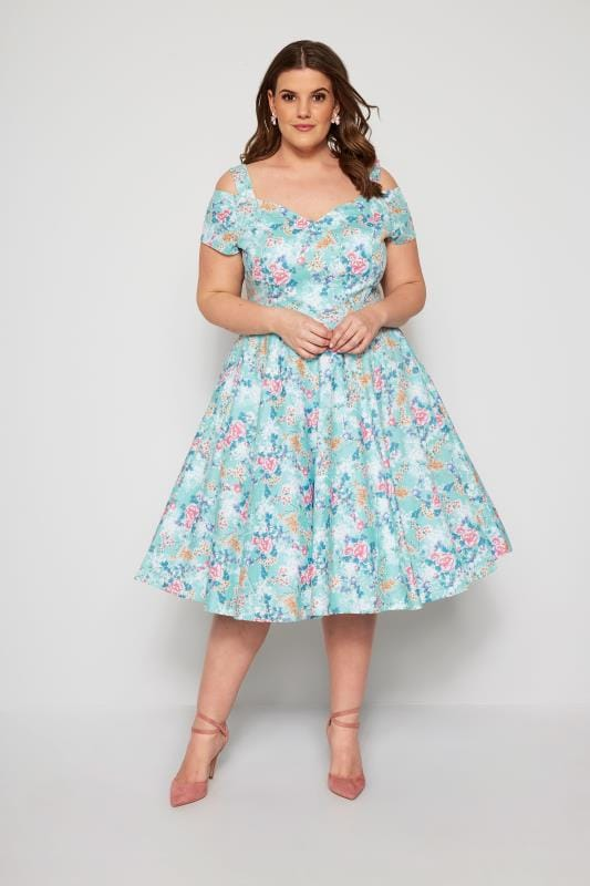Plus Size Party Dresses HELL BUNNY Blue Floral Yoko Cold Shoulder Dress