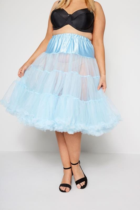 Plus Size Elasticated Waist Skirts HELL BUNNY Blue Petticoat Flare Skirt