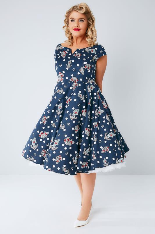 HELL BUNNY Blue Polka Dot & Anchor Print Sleeveless Salina Dress