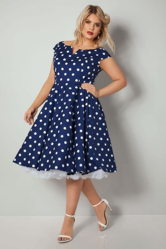 HELL BUNNY Blue & White Polka Dot Nicky Skater Dress