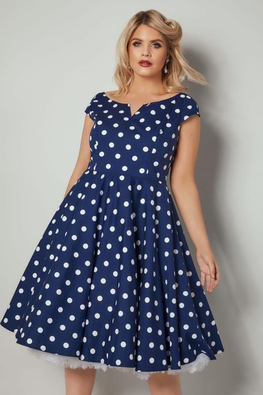 Plus Size Skater Dresses HELL BUNNY Blue & White Polka Dot Nicky Skater Dress