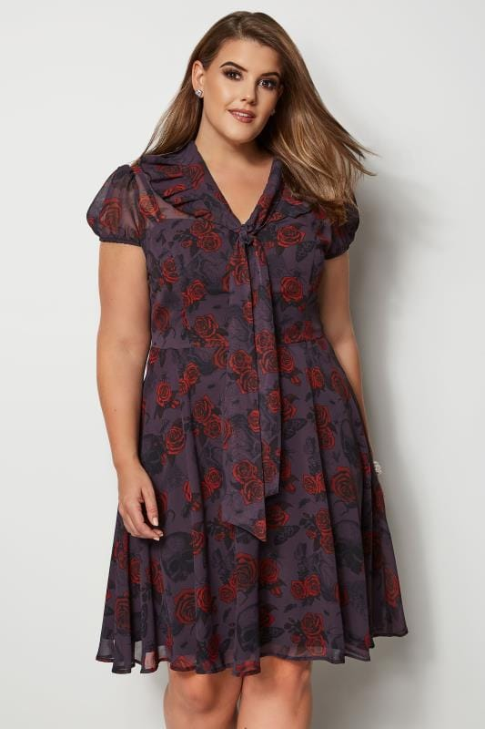 Plus Size Skater Dresses HELL BUNNY Grey Rose & Insect Clarice Dress