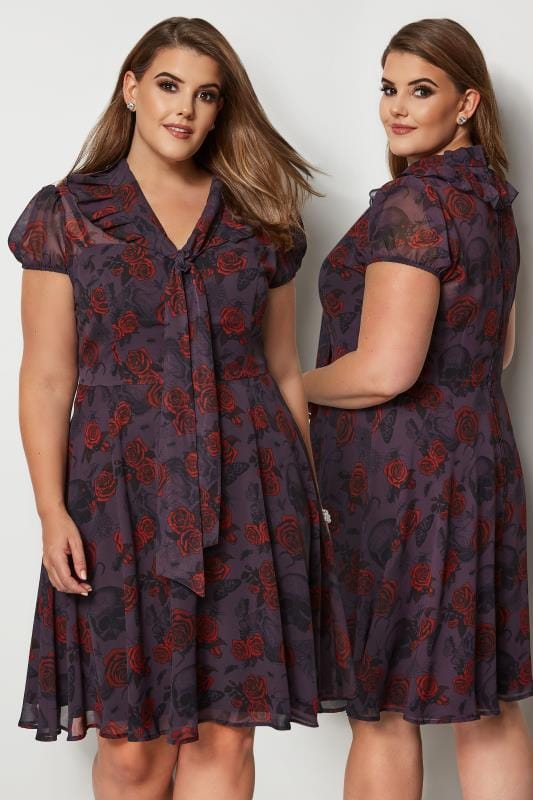 Plus Size Midi Dresses HELL BUNNY Grey Rose & Insect Print Clarice Dress