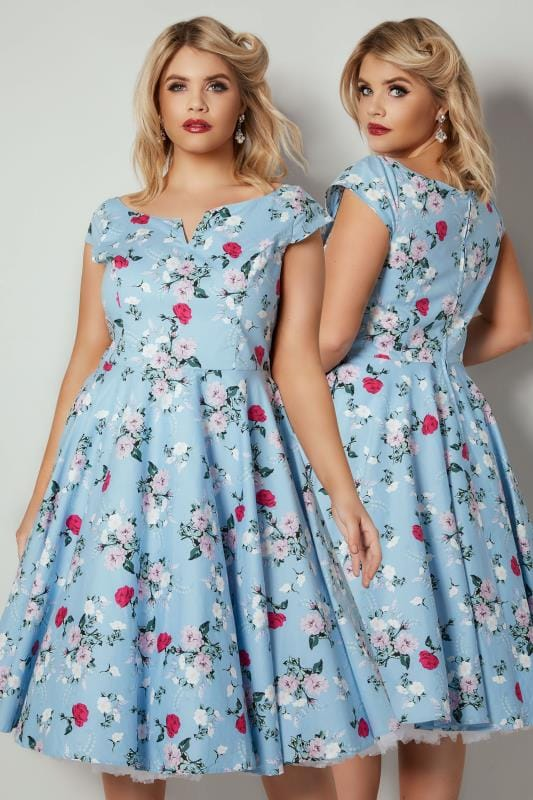 Plus Size Midi Dresses HELL BUNNY Light Blue Floral Print Belinda Midi Dress