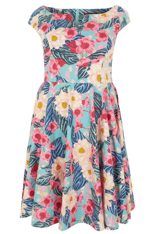 Plus Size Midi Dresses HELL BUNNY Multicoloured Floral Print Lotus Dress
