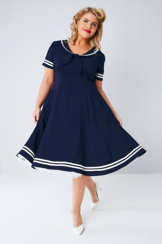 HELL BUNNY Navy Fit & Flare Ambeleside Dress