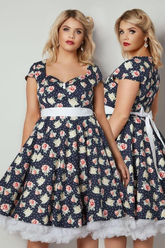 HELL BUNNY Navy Floral Print Cassie Dress With Self Tie Waist