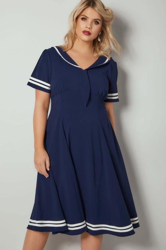 Plus Size Skater Dresses HELL BUNNY Navy & White Sailor Style Ambleside Dress