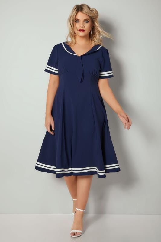 HELL BUNNY Navy & White Sailor Style Ambleside Dress