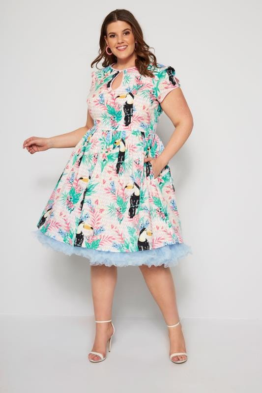 Plus Size Skater Dresses HELL BUNNY Pink Toucan Dress