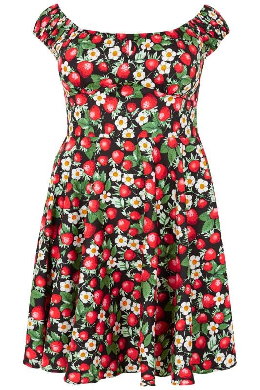 Plus Size Midi Dresses HELL BUNNY Red & Black Strawberry Bardot Dress