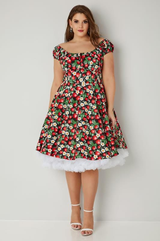 HELL BUNNY Red & Black Strawberry Bardot Dress