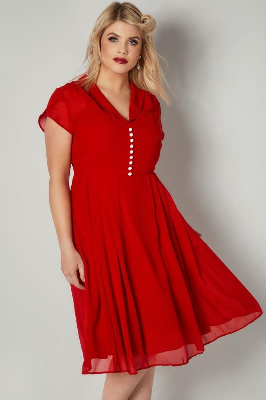 Plus Size Sleeved Dresses HELL BUNNY Red Chiffon Paige Dress With Pleated Skirt