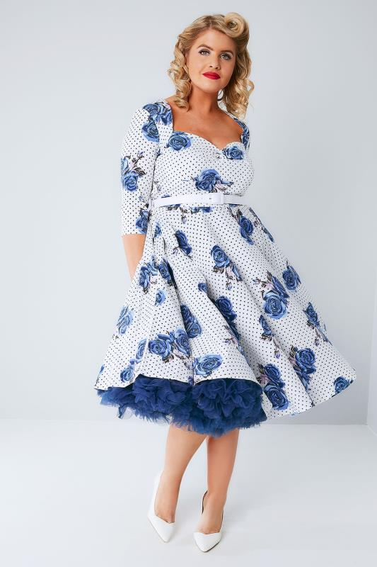 HELL BUNNY White & Blue Dotty Rose Dress With Waist Belt