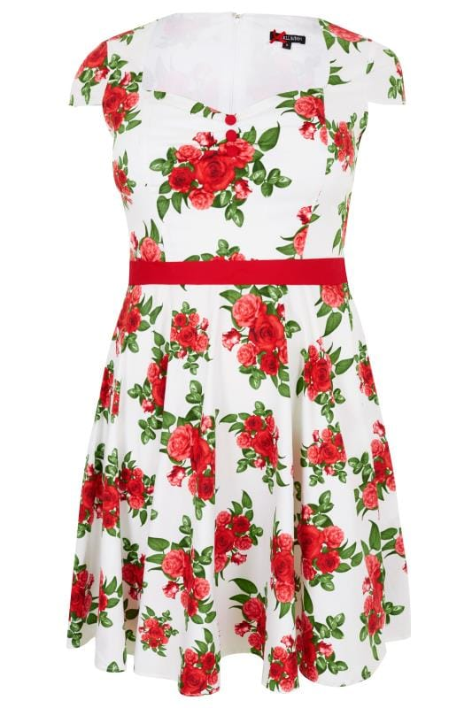 Plus Size Midi Dresses HELL BUNNY White & Red Rose Print Lorene Dress