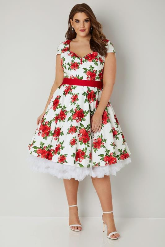 Plus Size Midi Dresses HELL BUNNY White & Red Rose Lorene Dress