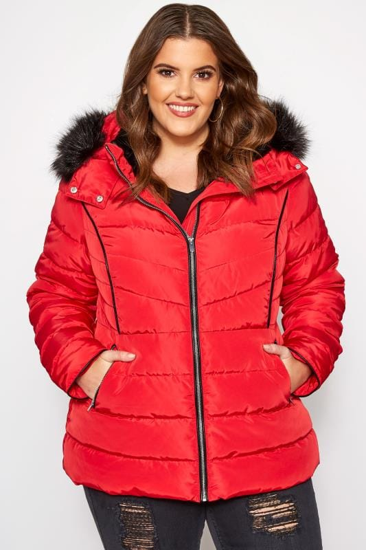Plus Size Puffer & Quilted Jackets Red Hooded Panel Puffer Coat
