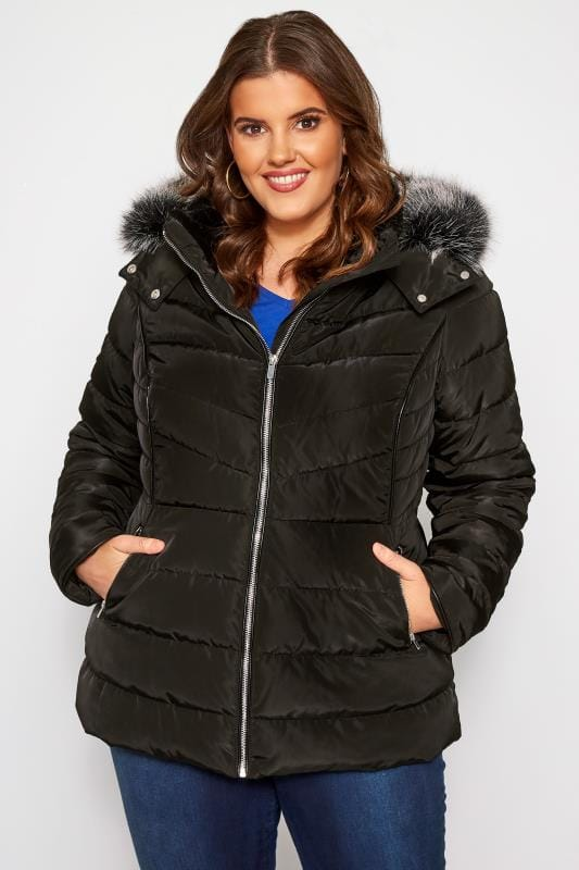 Plus Size Puffer & Quilted Jackets Black Hooded Panel Puffer Coat