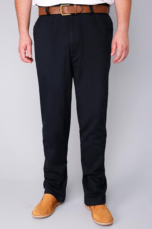 Chinos & Cords Harbour Bay Navy Chino Trousers- TALL 110425T