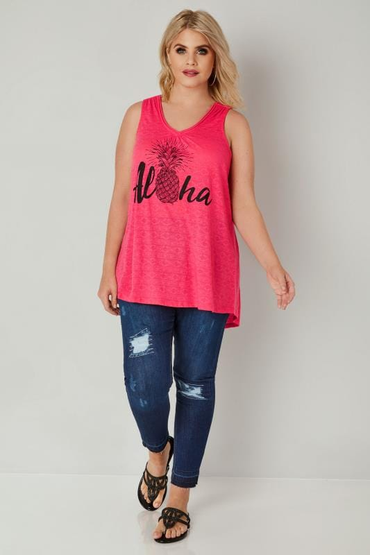 Hot Pink 'Aloha' Print Top In Aztec Burn Out