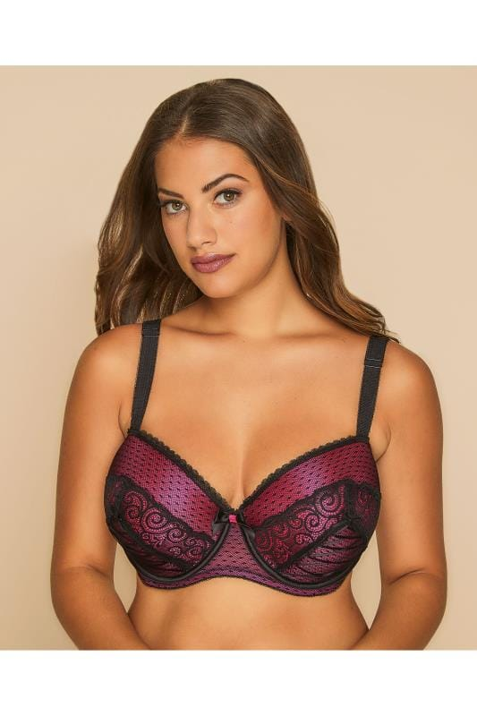 Hot Pink & Black Lace Up Detail Balconette Bra