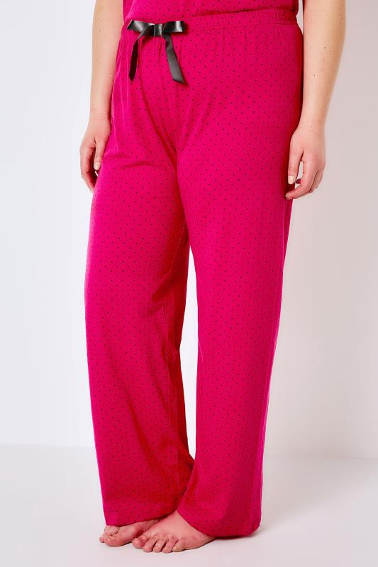 Hot Pink & Black Spotted Pyjama Bottoms