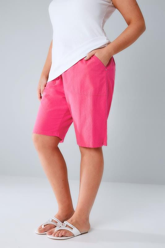 Plus Size Cool Cotton Shorts Hot Pink Cool Cotton Pull On Shorts