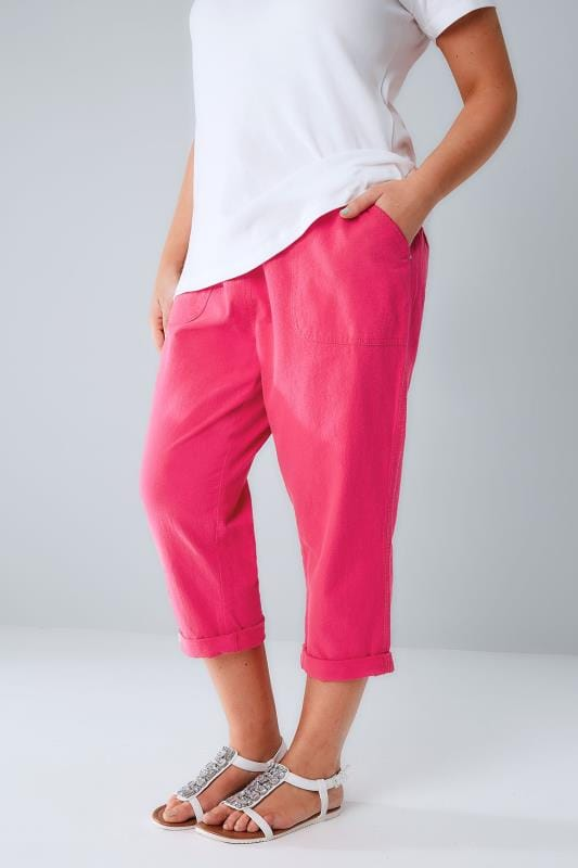Hot Pink Cool Cotton Pull On Tapered Cropped Trousers