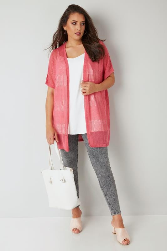Hot Pink Fine Knit Crochet Cardigan